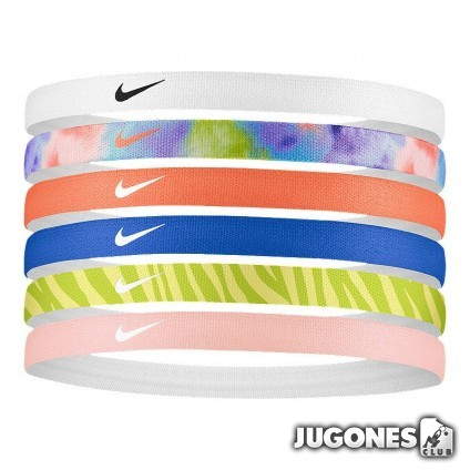6pk Nike printed Hairbands